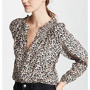 REBECCA TAYLOR Leopard Print Silk Blouse, Medium